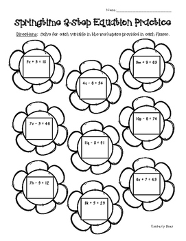 Springtime Solving 2-Step Algebraic Equations Math Practice Worksheet
