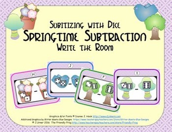 Springtime Subtraction {Subitizing with Dice}
