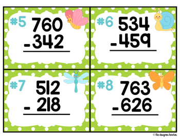 Springtime Subtraction with Regrouping Task Cards