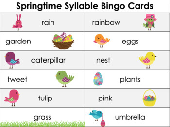 Spring Syllable Bingo