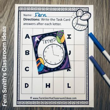Spring Time to the Hour Task Cards and Recording Sheet