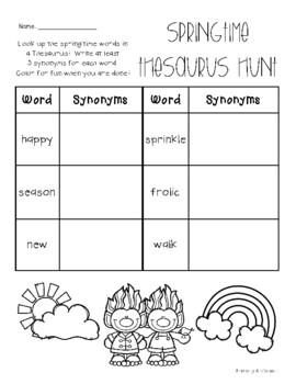 Springtime Trolls Thesaurus Hunt - Practice - Synonyms