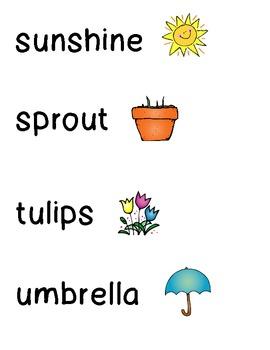 Springtime Word Wall cards