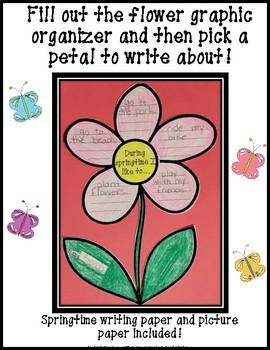 Springtime Writing with Flower Graphic Organizer!