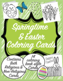 Springtime and Easter Coloring Book Style Cards