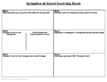 Springtime at School:  Performance Based Task Cards for Area and Perimeter