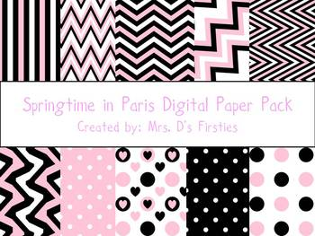 Springtime in Paris Digital Paper Pack