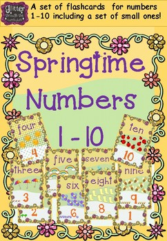 Springtime number flashcards 1-10