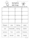 Spring ABC Order--Cut and Glue Activity Worksheet