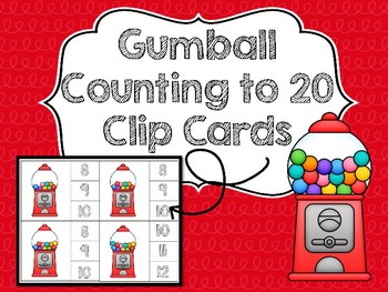 Gumball Counting to 20 Clip Cards