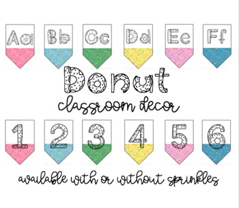 Sprinkled Donut Banners   Includes Alphabet & Numbers