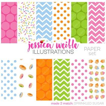 Sprinkled Sugar Matching Digital Papers, Sprinkles Papers