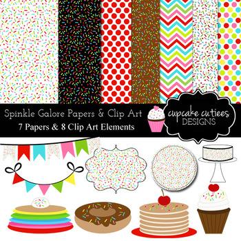Sprinkles Digital Paper and Clip Art Set