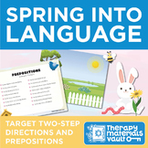 Two-Step Directions and Prepositions - Spring Activity