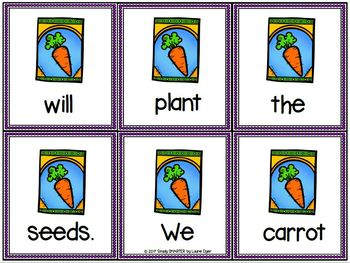Sprouting Scrambled Sentences:  LOW PREP Garden Themed Sentence Building