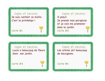 Spring : cartes à tâches- compréhension à la lecture: le printemps