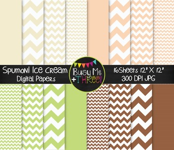 Spumoni Ice Cream Chevron Digital Papers {Commercial Use D