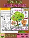 Spunky Sight Words - AUTUMN - Dolch Pre Primer List 1