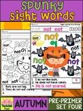 Spunky Sight Words - AUTUMN - Dolch Pre Primer List 4