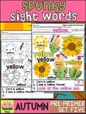 Spunky Sight Words - AUTUMN - Dolch Pre Primer List 5