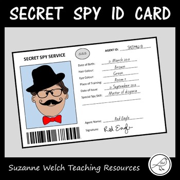 Spy id card / secret agent template by suzanne welch teaching.