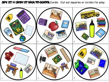 Spy It and Spin It: Back-to-School-- A Vocabulary and/or Phonemic Awareness Game