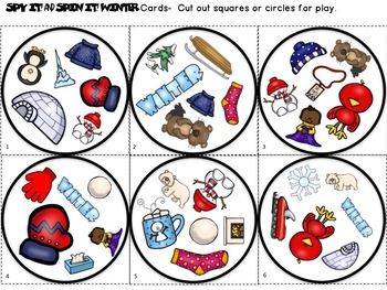 Spy It and Spin It:  Winter-- A Vocabulary and/or Phonemic Awareness Game