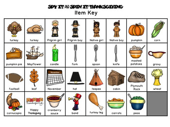 Spy It and Spin It: Thanksgiving-- A Vocabulary and/or Phonemic Awareness Game