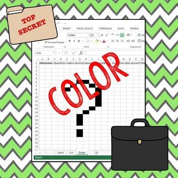 Spy Mission: Excel Label, List, and Color - 2nd Grade