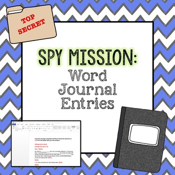 Spy Mission: Word Journal Entries - 2nd Grade
