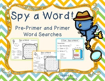 Spy a Word {Pre-primer and Primer Word Searches}