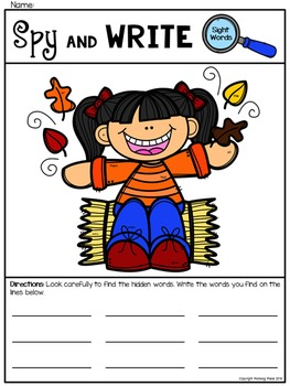 Spy and Write Sight Words - Fall Fun