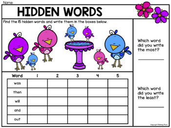 Hidden Words: Spring I Spy Sight Words - Editable