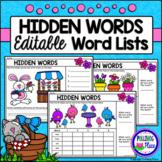 Hidden Words: Spring I Spy Sight Words - Editable