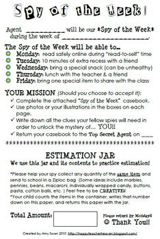 Spy of the Week and Estimation Jar parent letter