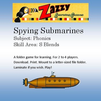 Spying Submarines Folder Game Phonics Consonant s blends