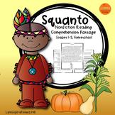 Squanto- A Non-fiction Reading Comprehension Passage for Grades 1-3, Homeschool