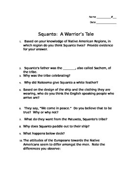 Squanto:  A Warrior's Tale Movie Questions