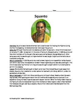 Squanto - Full Life Story - Activities Questions Vocab Word Search Thanksgiving