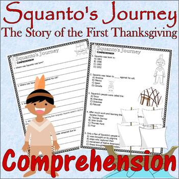 Squanto's Journey Story of the First Thanksgiving Comprehension with Lined Paper