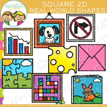 Square Real Life Objects 2D Shapes Clip Art