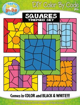 Square 2D Shapes Color By Code Clipart {Zip-A-Dee-Doo-Dah Designs}