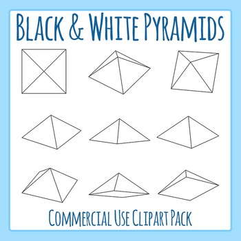 Square Based Pyramids in Black and White Line Art Commerci
