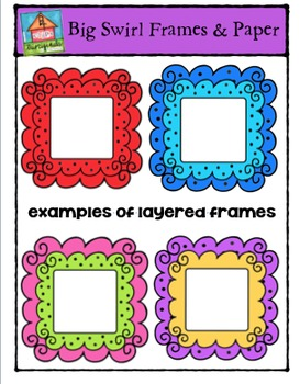 Square Big Swirl Frames {P4 Clips Trioriginals Digital Clip Art)