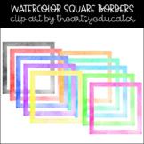 Square Borders Watercolor Clip Art