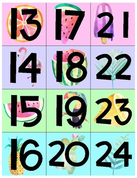 Square Calendar Numbers - Tropical Theme