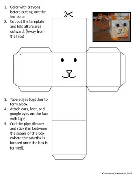 square cat craft template and directions by kersten peterson tpt