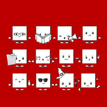 Square Characters Clip Art for Commercial Use