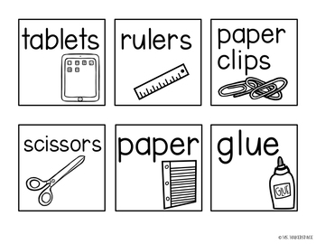 Square Classroom Supply Labels