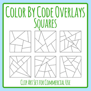 Square Color by Code / Colour by Number Templates / Overlays Clip Art